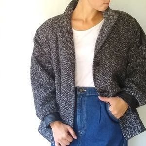 VINTAGE oversized cozy tweed boucle winter coat